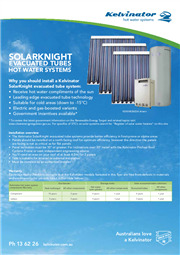 Kelvinator Solarknight Evacuated Tubes Fact Sheet